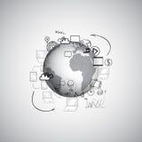 Reeks van krabbelontwerp, samenwerkingsvector vector illustratie