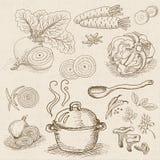 Reeks van krijt op een bordvoedsel wordt getrokken, kruiden dat Stock Afbeeldingen