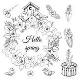 Reeks van kroon van de lentebloemen, het nestelen doos en kleine vogels Hand getrokken zwart-wit die schets op witte achtergrond  vector illustratie