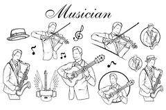 Reeks van Kunstenaarsmusicus Playing Saxofoonspeler De akoestische speeldetails van de gitaargitarist Muzikale instrumant met uit stock illustratie
