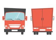 Reeks van ladingsvrachtwagen De vectorillustratie van het beeldverhaal Verhuiswagen Stock Afbeeldingen