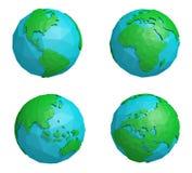 Reeks van lage polyaardeplaneet met vier continenten, veelhoekig bolpictogram Royalty-vrije Stock Afbeeldingen