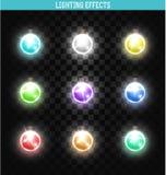 Reeks van 9 lampen verschillende kleuren Glanzend, realistische slinger royalty-vrije illustratie