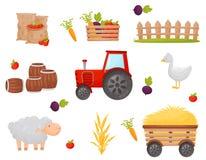 Reeks van landbouwerselement Groenten en Landbouwbedrijfdieren Vector graphhics vector illustratie