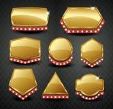 Reeks van leeg gouden uitstekend kader, banner, etiket, Vectoreps10 Stock Fotografie