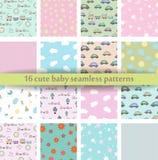 Reeks van 16 Leuk baby naadloos patroon Retro roze, witte en blauwe kleuren Textuur voor behang, Web-pagina achtergrond, stof en  Stock Fotografie