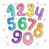 Reeks van leuk en grappig kleurrijk het glimlachen aantal Royalty-vrije Stock Fotografie
