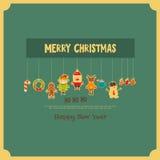 Reeks van Leuk Kerstmiskarakter Stock Foto