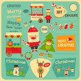 Reeks van Leuk Kerstmiskarakter Stock Afbeeldingen