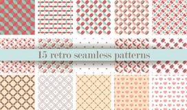 Reeks van Leuk retro naadloos patroon Retro roze, witte en blauwe kleuren Royalty-vrije Stock Afbeelding