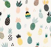 Reeks van leuke ananassen met verschillende texturen stock illustratie