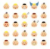 Reeks van leuke baby emoticons Stock Fotografie