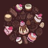 Reeks van leuke cake. Stock Foto