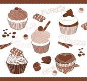 Reeks van Leuke Cupcakes voor ontwerp Royalty-vrije Stock Afbeelding