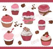 Reeks van Leuke Cupcakes voor ontwerp Royalty-vrije Stock Foto
