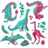Reeks van 5 Leuke getrokken geweven karakters van de dinosauruskleur hand Vlakke handdrawn clipart van Dino Schets Jurareptiel pt vector illustratie