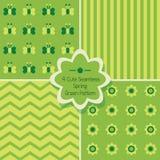 Reeks van 4 leuke groene naadloze patronen Royalty-vrije Illustratie