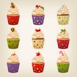 Reeks van leuke Kerstmis cupcakes Stock Fotografie