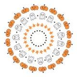 Reeks van leuke krabbel, hand getrokken Halloween-grenzen, kaders op witte achtergrond Royalty-vrije Stock Foto