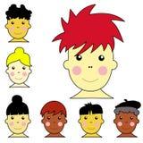 Reeks van leuke multiculturele jongen en meisjesgezichtenillus Royalty-vrije Stock Afbeeldingen