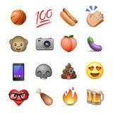 Reeks van leuke smiley emoticons, emojiontwerp royalty-vrije illustratie