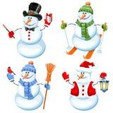 Reeks van leuke sneeuwman Royalty-vrije Stock Afbeelding