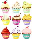 Reeks van leuke stip cupcakes Royalty-vrije Stock Foto's