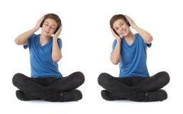 Reeks van leuke tienerjongen over wit geïsoleerde achtergrond Stock Afbeeldingen