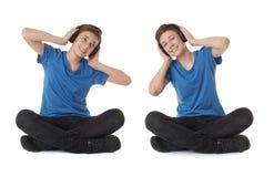 Reeks van leuke tienerjongen over wit geïsoleerde achtergrond Stock Afbeelding