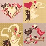 Reeks van 4 liefde als thema gehade illustraties Stock Afbeeldingen