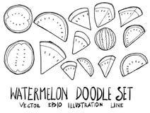 Reeks van lijn van de de krabbelschets van de Watermeloenillustratie de Hand getrokken vec Royalty-vrije Stock Foto's