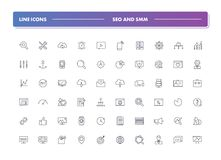 Reeks van 60 lijnpictogrammen SEO en SMM Stock Afbeeldingen