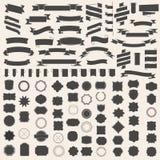 Reeks van linten en kader, kenteken, etiket Vectormalplaatjes voor uw ontwerp Stock Foto