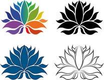 Reeks van Lotus Flower Icons /Logos Stock Afbeeldingen