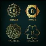 Reeks van luxe, eenvoudige en elegante monogram Royalty-vrije Stock Afbeelding