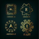 Reeks van luxe, eenvoudige en elegante monogram Stock Foto's