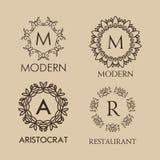 Reeks van luxe, eenvoudige en elegante monogram Stock Fotografie