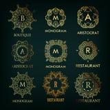 Reeks van luxe, eenvoudige en elegante monogram Royalty-vrije Stock Afbeeldingen