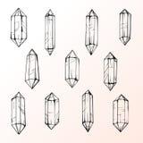 Reeks van 11 magische kristalgemmen Stock Foto