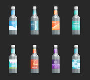 Reeks van malplaatje leeg etiket voor glas, plastiek of document fles met nieuw ontwerp stock illustratie