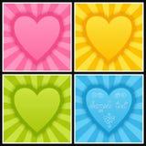 Reeks van Malplaatje met Heldere Blauwe, Groene, Roze en Gele Harten Royalty-vrije Stock Fotografie