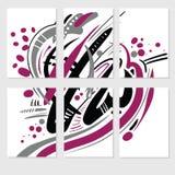 Reeks van 6 malplaatjes van één abstract beeld Hand Getrokken texturen Creatief abstract ontwerp voor sociale brochure, kaart Royalty-vrije Stock Fotografie