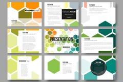 Reeks van 9 malplaatjes voor presentatiedia's Abstracte kleurrijke bedrijfsachtergrond, moderne modieuze hexagonale vector vector illustratie