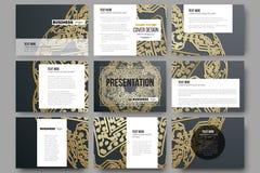 Reeks van 9 malplaatjes voor presentatiedia's Gouden microchippatroon op donkere achtergrond met het verbinden van punten en lijn Royalty-vrije Stock Foto's