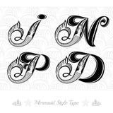 Reeks van mariene hoofdletter met zwemmende meermin - D, I, p, n Royalty-vrije Stock Afbeeldingen