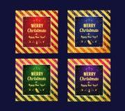 Reeks van Marry Kerstmis en Gelukkige Nieuwjaar 2017 kaart Vector gouden schitterend patroon voor certificaat, gift, bon, heden,  Royalty-vrije Stock Fotografie