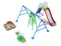 Reeks van materiaal in een speelplaats 3d geef image Royalty-vrije Stock Afbeelding