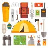 Reeks van materiaal voor reis, recreatie, avontuur vector illustratie