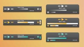 Reeks van media spelertoepassing, app malplaatje met vlakke ontwerpstijl voor smartphones, PC of tabletten vector illustratie