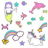 Reeks van meerminpictogrammen en eenhoorn met regenboog, vectorillustratie van stickers magische schepselen vector illustratie
